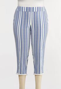 Plus Size Striped Fringe Pants