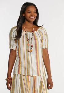 Plus Size Linen Striped Poet Top