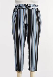 Plus Size Blue Striped Paperbag Pants