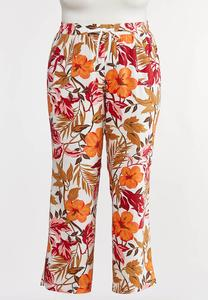 Plus Size Tropical Linen Beach Pants