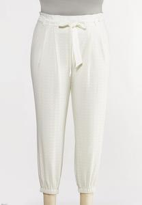 Plus Size Eyelet Tie Front Pants