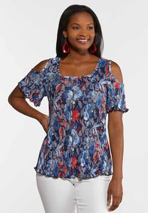 Plus Size Pleated Cold Shoulder Top