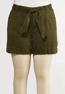 Plus Size Tie Belt Woven Shorts