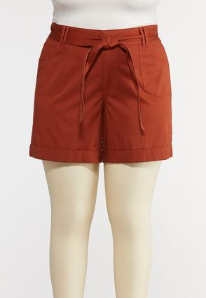 Plus Size Tie Belt Woven Shorts