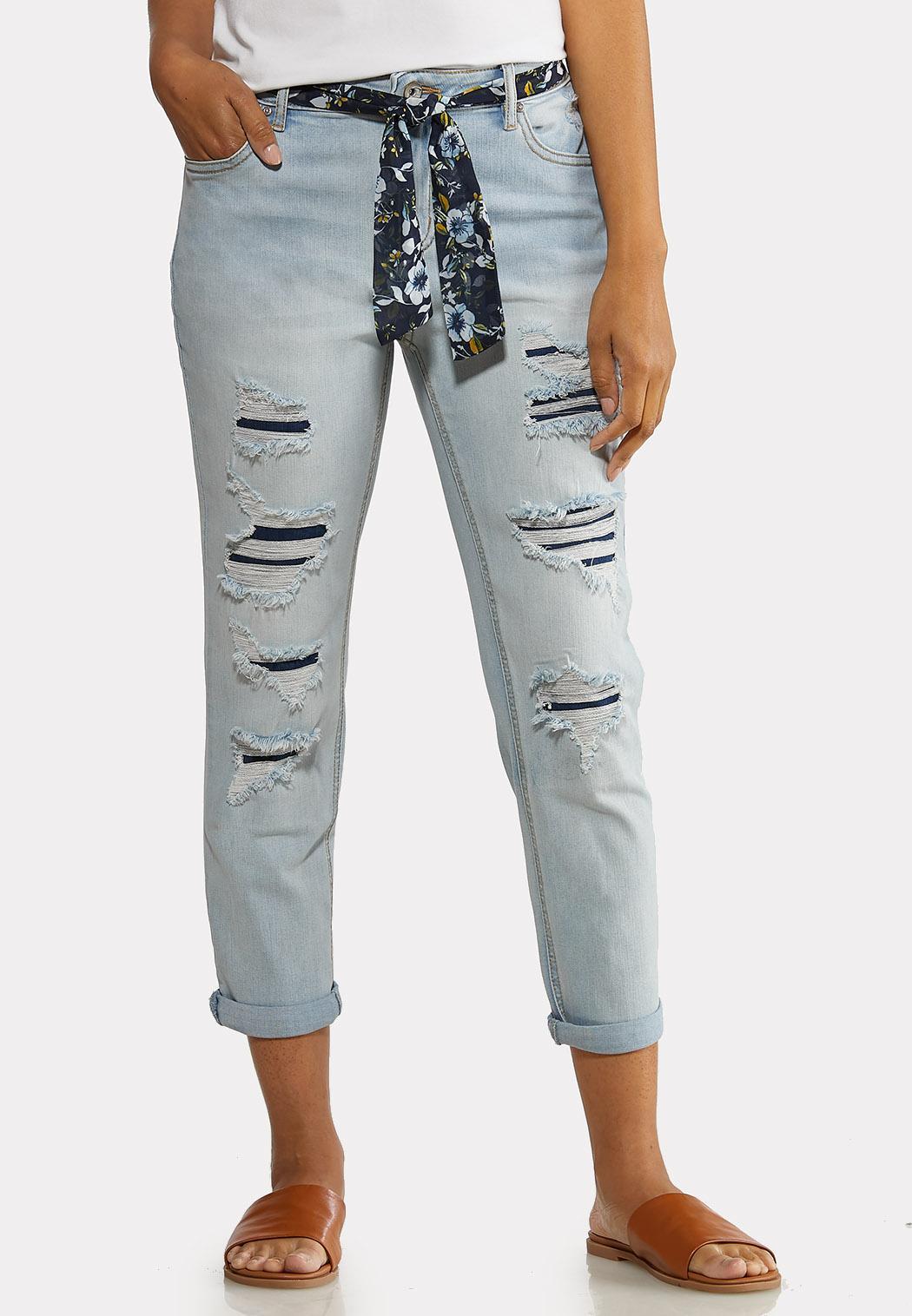 Scarf Belt Boyfriend Jeans