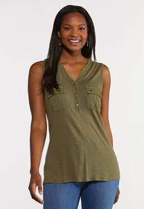 Plus Size Linen Front Pocket Tank