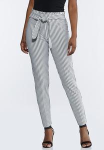 Striped Paperbag Tie Waist Pants