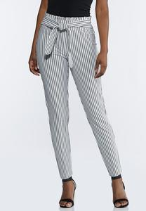Striped Paperbag Tie Waist Pants