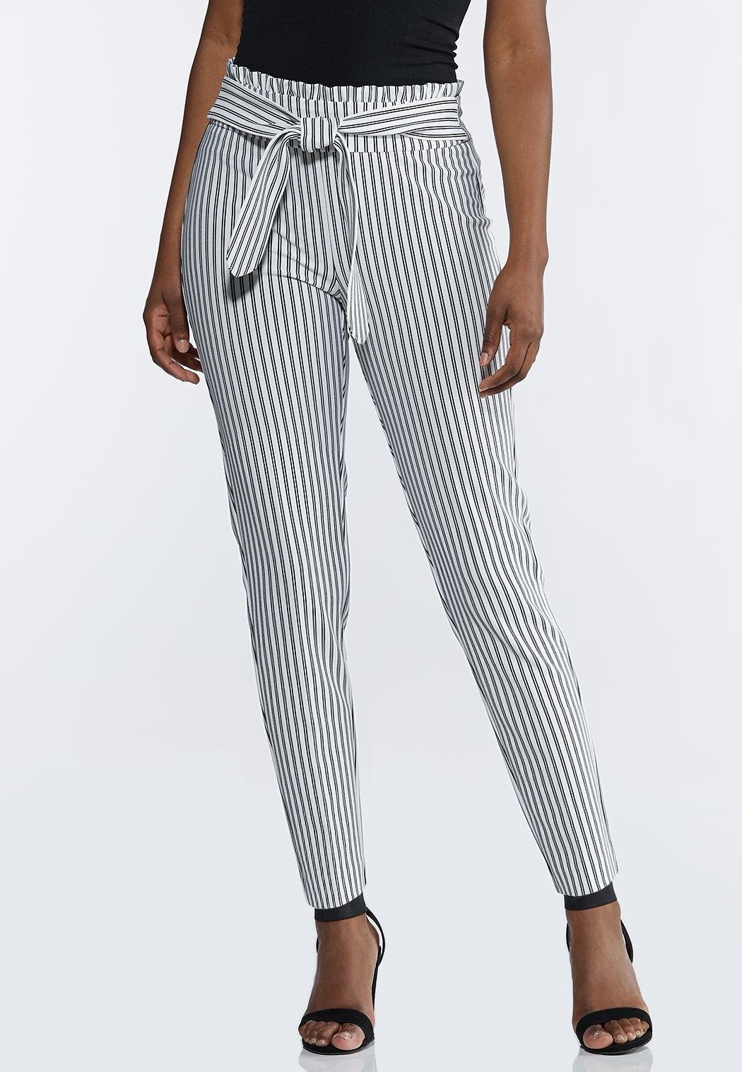 Petite Striped Paperbag Tie Waist Pants
