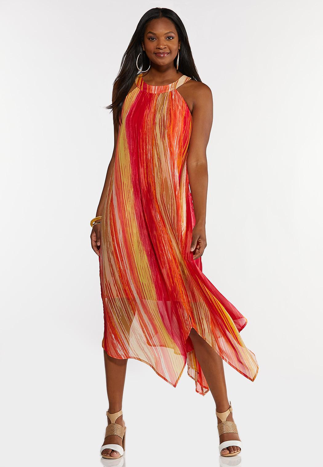 Plus Size Melon Stripe Flyaway Dress