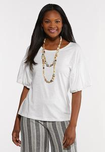 Plus Size White Balloon Sleeve Tee