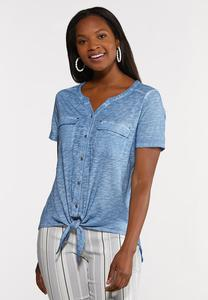 Plus Size Tie Front Button Down Top