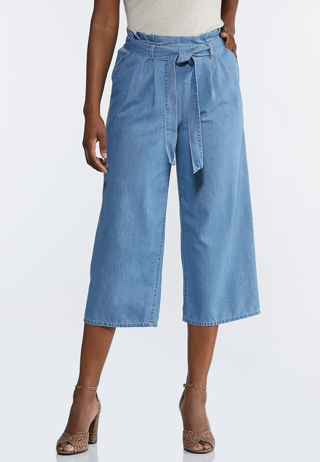 Cropped Paperbag Chambray Pants