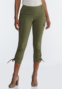 Olive Bengaline Utility Pants