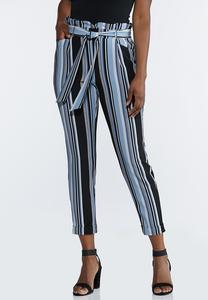 Blue Striped Paperbag Pants