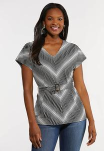 Plus Size Chevron Belted Top