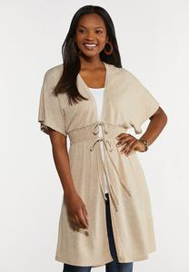 Smocked Ribbed Duster