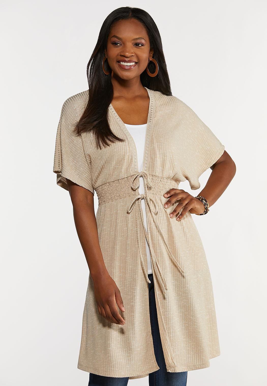 Plus Size Smocked Ribbed Duster