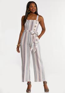 Plus Size Striped Linen Jumpsuit