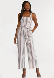 Plus Size Striped Linen Jumpsuit