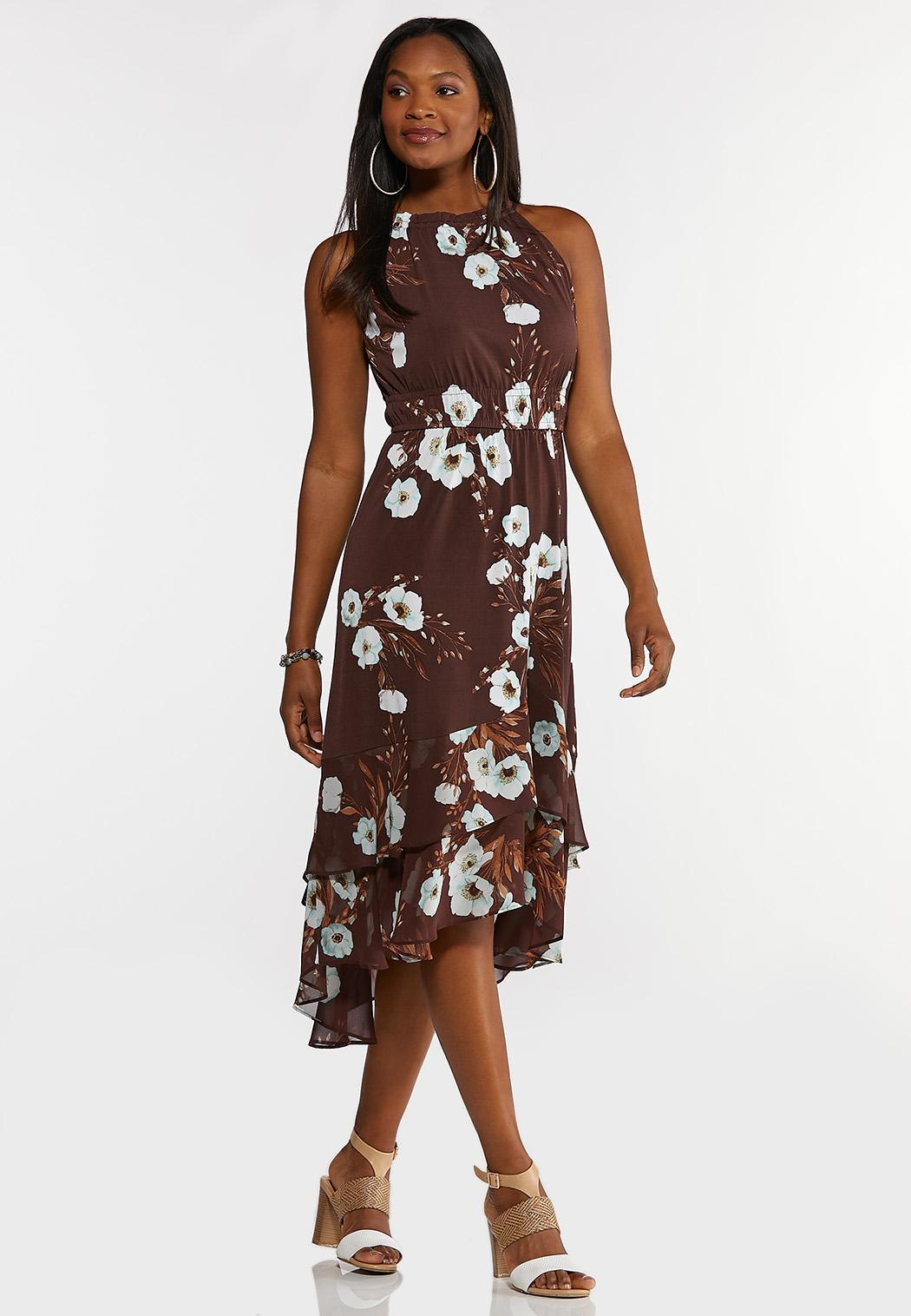 Plus Size Floral Ruffle Halter Midi Dress