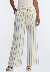 Striped Wide Leg Linen Pants