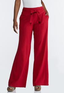 Red Linen Beach Pants