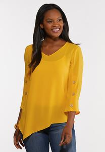 Plus Size Crepe Pointed Hem Top