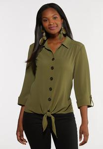 Plus Size Button Down Crepe Top