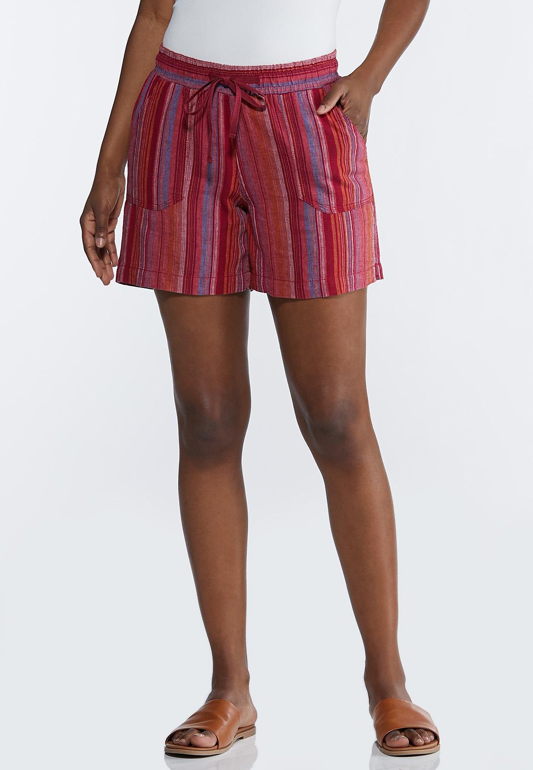 Pink Stripe Linen Shorts
