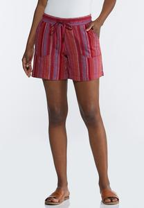 Pink Stripe Linen Shorts