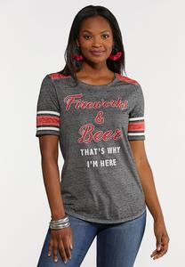 Plus Size Fireworks And Beer Tee