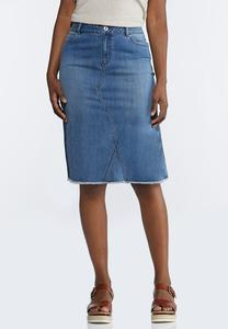 Plus Extended Denim Midi Skirt