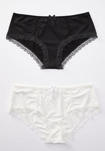 Plus Size Black White Hipster Panty Set