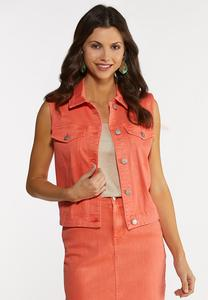 Plus Size Coral Denim Vest