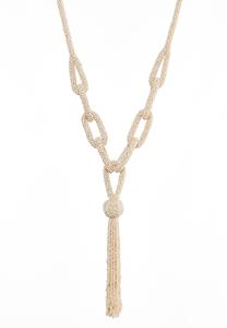 Seed Bead Link Tassel Necklace