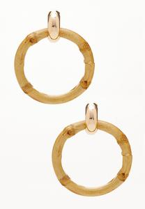 Bamboo Hoop Post Earrings