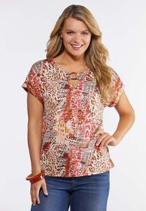 Plus Size Pink Animal Print Top