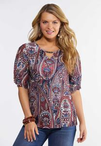 Plus Size Pleated Paisley Top