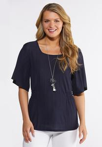 Plus Size Navy Smocked Side Top