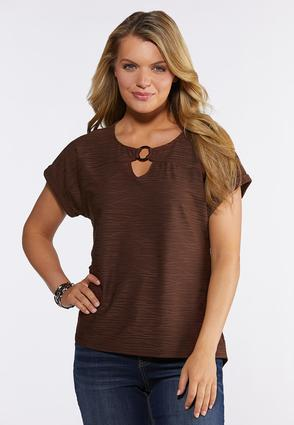 Plus Size Embellished Cutout Top
