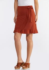 Rust Ruffled Wrap Skirt