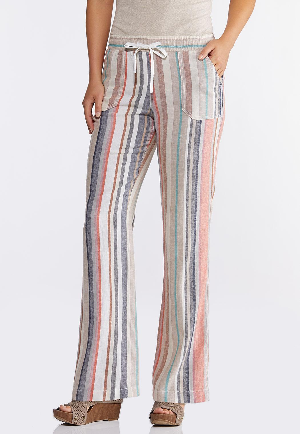 Striped Linen Drawstring Pants