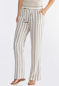 Striped Linen Drawstring Pants