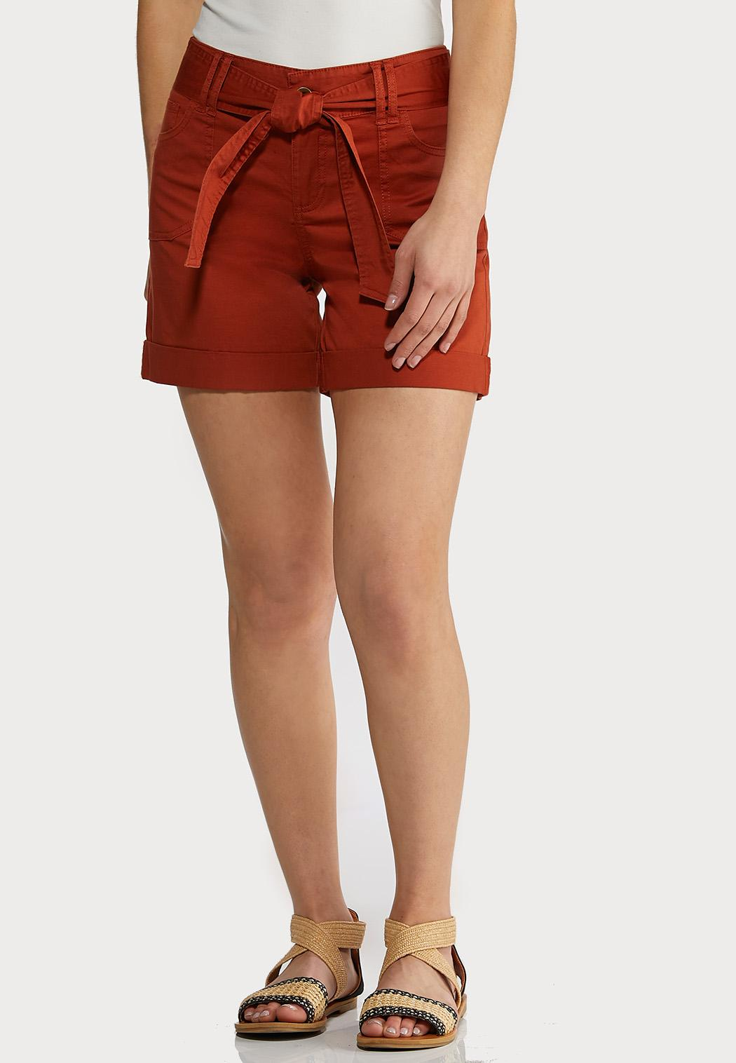 Tie Belt Woven Shorts