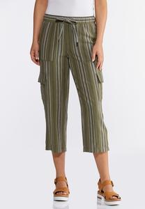 Striped Linen Crop Cargo Pants