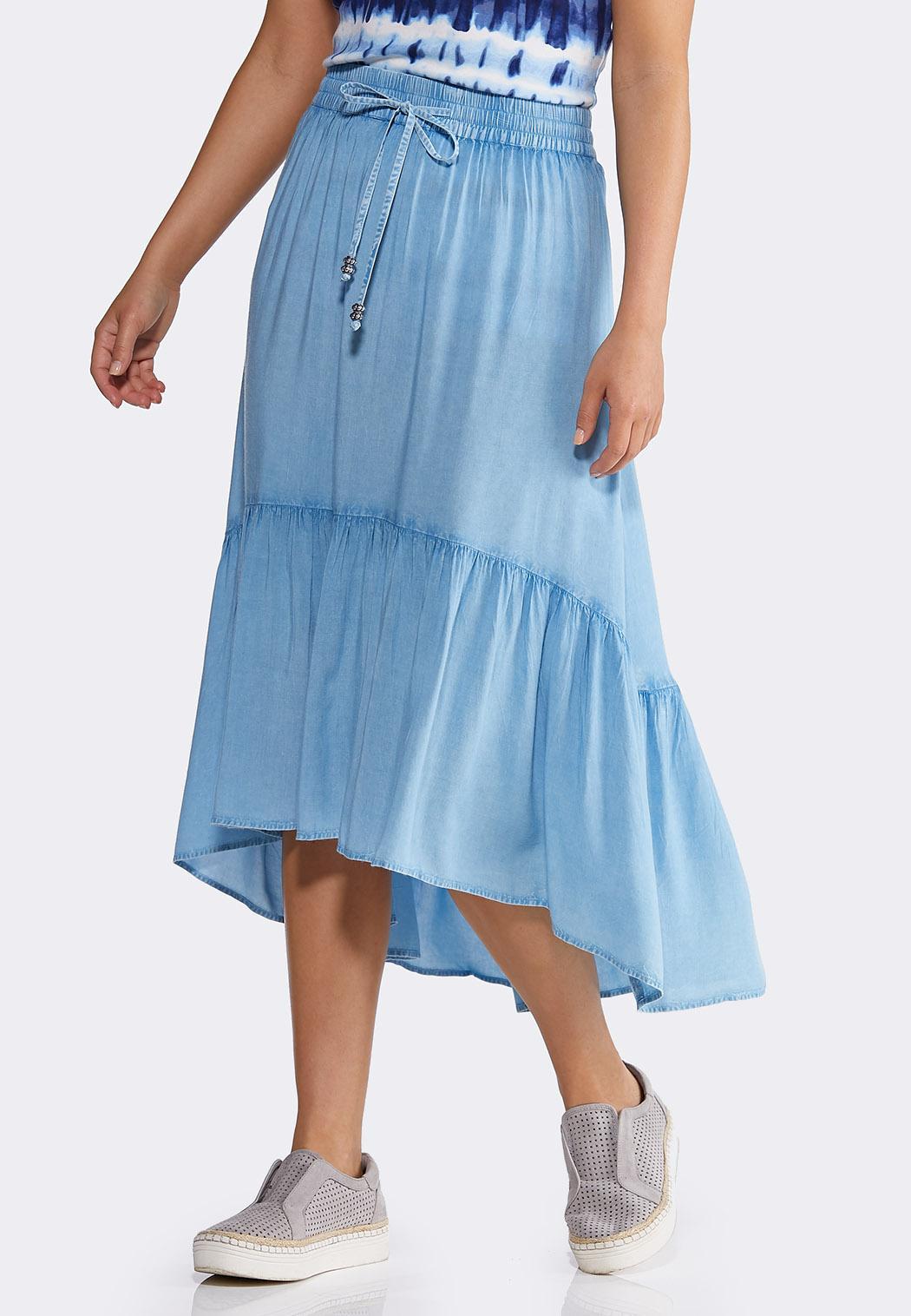 Chambray Tiered Midi Skirt