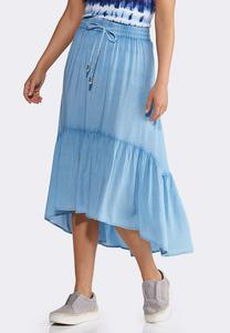 Chambray Tiered Midi Skirt