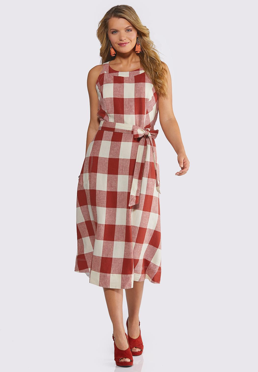 Plus Size Plaid Midi Dress