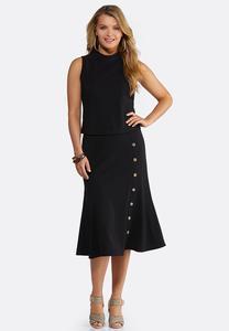 Plus Size Ribbed Mock Neck Skirt Set